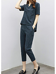 Women's Casual/Daily Simple Summer T-shirt Pant Suits,Striped Asymmetrical Short Sleeve