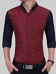 Для мужчин Офис / Карьера Повседневные Для вечеринок На каждый день Офис Все сезоны Рубашка Рубашечный воротник,Простое Богемный Панк &