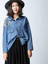Feminino Camisa Social SimplesSólido Algodão Colarinho de Camisa Manga Longa