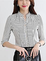 Damen Gestreift Einfach Lässig/Alltäglich T-shirt,Hemdkragen ½ Länge Ärmel Baumwolle