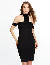 Women's Formal / Party Sexy Bodycon Dress,Solid V Neck Mini Long Sleeve Red / Black Cotton / Spandex Spring / Fall Mid Rise