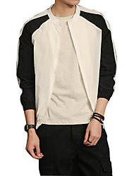 Men's Daily Casual Simple Nature Inspired Summer Jacket,Color Block Stand Long Sleeve Regular Polyester Taffeta