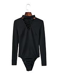 Для женщин Прочее Уличный стиль На выход На каждый день Комбинезоны,Со стандартной талией Свободные Чистый цвет Мода Однотонные Вышивка