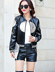 Women's Casual/Daily Simple Fall Leather Jacket,Print Round Neck Long Sleeve Short