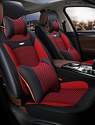 The 5 Seat Car Seat Leather Seat Cover Silk Cushion Surrounded By Four Seasons General 3D Stereo  Red