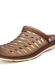 Men's Sandals Comfort Jelly Shoes Hole Shoes Couple Shoes Rubber Spring Casual Navy Blue Coffee Black Flat