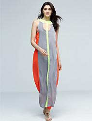 Femme Découpé Robe Aux s Swing Sexy/Soirée/Travail/Décontracté/Plage,Rayé/Couleur Pleine Licou MaxiAcrylique/Polyester/Mousseline