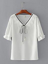 Damen Solide Einfach Lässig/Alltäglich T-shirt,V-Ausschnitt Kurzarm Chiffon