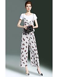 Mujer Oficina/Carrera Formal Verano T-Shirt Pantalón Trajes,Escote Redondo Estampado Manga Corta Microelástico