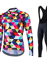 Fastcute Cycling Jersey with Bib Tights Men's Women's Unisex Long Sleeves Bike Pants / Trousers Tracksuit Fleece Jacket Jersey Tights Bib