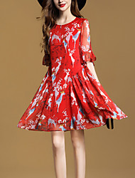 Women's Going out Street chic Loose Chiffon Swing Dress Print Round Neck Above Knee 1/2 Length Sleeve Flare Sleeve Polyester Summer