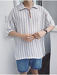 Masculino Camisa Social Casual Simples Verão,Listrado Algodão Colarinho de Camisa Manga Curta