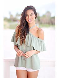 Tee-shirt Femme,Couleur Pleine Décontracté / Quotidien simple Manches Courtes Epaules Dénudées Coton