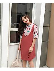 Для женщин Весна Лето Как у футболки Платья Костюмы Круглый вырез 1/2 Length Sleeve