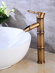 Contemporâneo Conjunto CentralVálvula Cerâmica Monocomando e Uma Abertura for  Cobre Envelhecido , Torneira pia do banheiro
