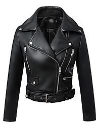 Men's Leather Jacket Notch Lapel Long Sleeve
