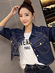 Feminino Jaqueta jeans Simples Decote V Manga Longa