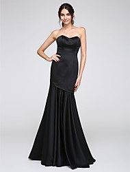 Fit & Flare Sweetheart Floor Length Satin Formal Evening Dress with Pleats by TS Couture®
