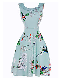 Women's Floral Patterns Casual/Daily Beach Holiday Vintage Sheath Swing Dress,Floral Boat Neck Knee-length Sleeveless Cotton Summer High Rise