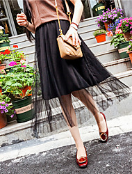 Women's Going out Casual/Daily Midi Skirts,Simple Cute A Line Mesh Solid Spring Summer