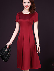 Women's Casual/Daily Simple A Line Dress,Solid Round Neck Midi Short Sleeve %Wool10%Mulberry silk 90%Wool10%Silk Summer Mid Rise