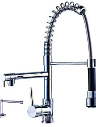 Contemporary Pull-out/Pull-down CentersetCeramic Valve Single Handle One Hole Kitchen faucet