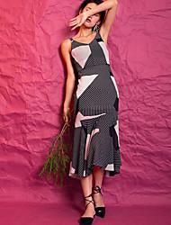 Для женщин На каждый день Секси Русалка Платье Полосы / волосы Контрастных цветов,V-образный вырез Средней длины Без рукавов Полиэстер