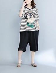 Tee-shirt Femme,Rayé Chic de Rue ½ Manches Col en V Coton