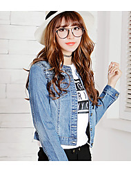 Women's Casual/Daily Cute Spring Denim Jacket,Solid Round Neck Long Sleeve Short Cotton