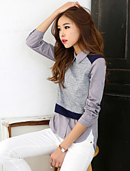 Women's Going out Party Sexy Cute T-shirt,Solid Print Wing Collar Long Sleeve Cotton