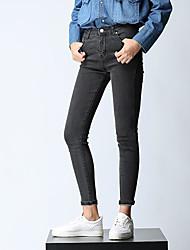 Damen Einfach Hohe Hüfthöhe Unelastisch Jeans Skinny Hose
