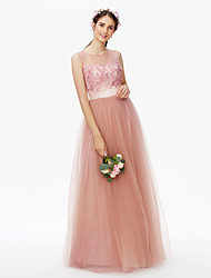 A-Line Jewel Neck Floor Length Tulle Bridesmaid Dress with Applique Flower(s) Sashes / Ribbons Sequins Pleats by LAN TING BRIDE®