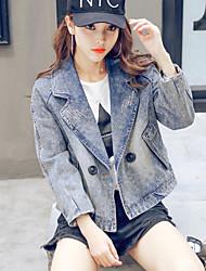 Women's Casual/Daily Simple Spring Denim Jacket,Solid Notch Lapel Long Sleeve Regular Linen