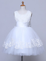A-Line Knee Length Flower Girl Dress Sleeveless Scoop Neck