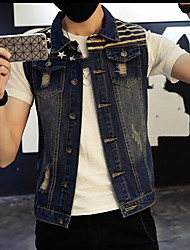 Men's Daily Modern/Comtemporary Spring Jacket,Print Shirt Collar Sleeveless Regular Cotton Others