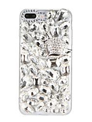 Pour étui en diamant rhinestone étui arrière étui glitter brillant 3d carré dur pc pour Apple iphone 7 7 plus 6s 6 plus se 5s 5