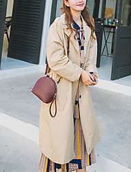 Women's Daily Modern/Comtemporary Spring Trench Coat,Solid Shirt Collar Long Sleeve Long Others