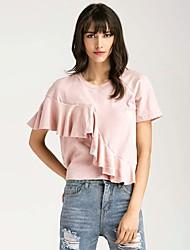 Damen Solide Einfach T-shirt,Rundhalsausschnitt Kurzarm Seide Baumwolle