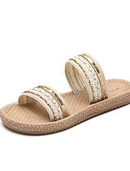 Women's Flats Slingback Linen Summer Casual Dress Walking Slingback Pearl Sequin Flat Heel Beige Black Flat