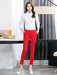 Women's High Rise Micro-elastic Business Pants,Simple Skinny Solid