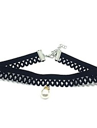 Women's Choker Necklaces Imitation Pearl Round Lace Dangling Style Classic Jewelry ForWedding Party Anniversary Thank You Engagement Gift