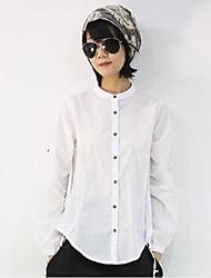 Feminino Camisa Social Casual SimplesSólido Linho Colarinho Chinês Manga ¾