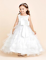 Ball Gown Floor Length Flower Girl Dress - Satin Tulle Jewel with Applique Beading Bow(s) Flower(s) Sash / Ribbon Pleats Tiered