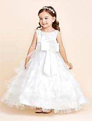 Robe de bal longueur de plancher robe de fille de fleur - tul satin robe sans manches avec fleur