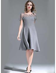 Dámské A Line Šaty Jednobarevné,Krátký rukáv Kulatý Délka ke kolenům Polyester Léto High Rise Lehce elastické Tenké
