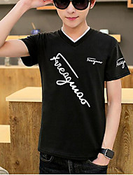 Tee-shirt Homme,Imprimé simple Manches Courtes Col en V Coton Moyen