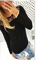 Women's Casual/Daily Simple T-shirt,Solid Embroidered Round Neck Long Sleeve Cotton Bamboo Fiber