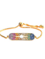 Lureme Simple Jewelry Brass with Rainbow Cubic Zirconia Adjustable Bracelet for Women