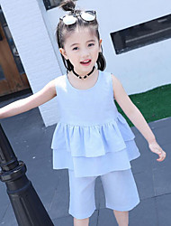 Girls' Solid Color Sets,Cotton Summer Sleeveless Clothing Set
