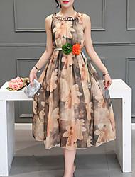 Для женщин На выход На каждый день Офис Секси Богемный Изысканный Оболочка С летящей юбкой Платье Цветочный принт,Воротник-стойкаСредней